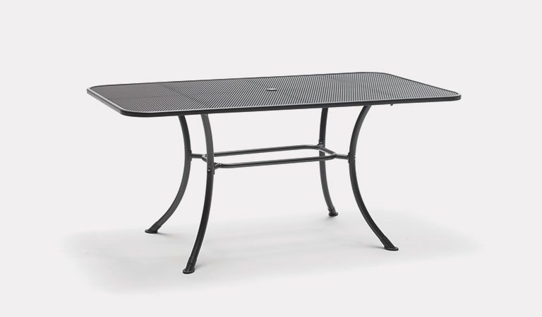 160x90cm mesh table from KETTLER's Classic Garden furniture range on a grey background.