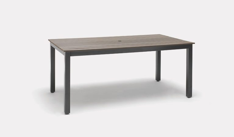 Bretagne 180x100cm Table in Taupe from KETTLER's Classic garden furniture range on a gray background.