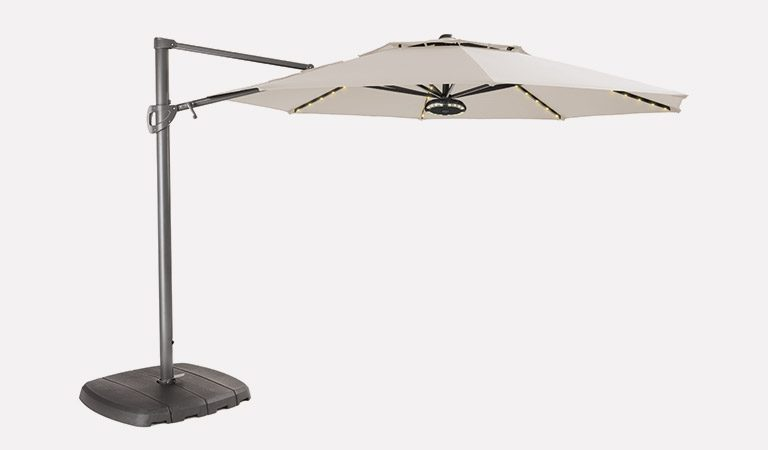 3.3m Free Arm Parasol with Natural fabric on a grey background.