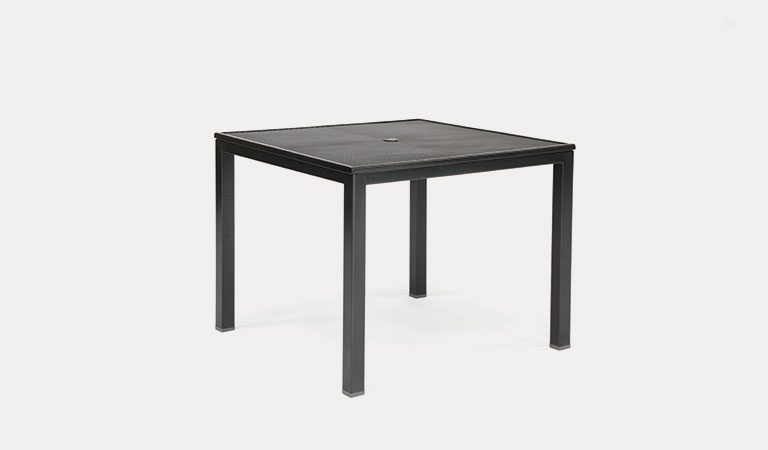 90x90cm square mesh loft table from KETTLER's Classic Garden furniture range on a grey background.