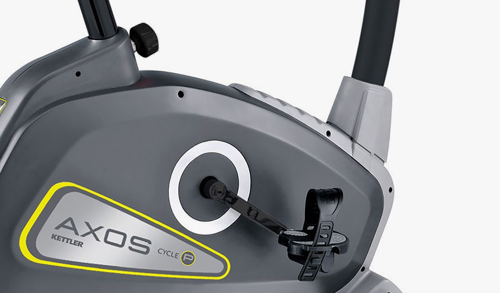 Detail of the Cycle P Exercise Bike from KETTLER's fitness range on a grey background.
