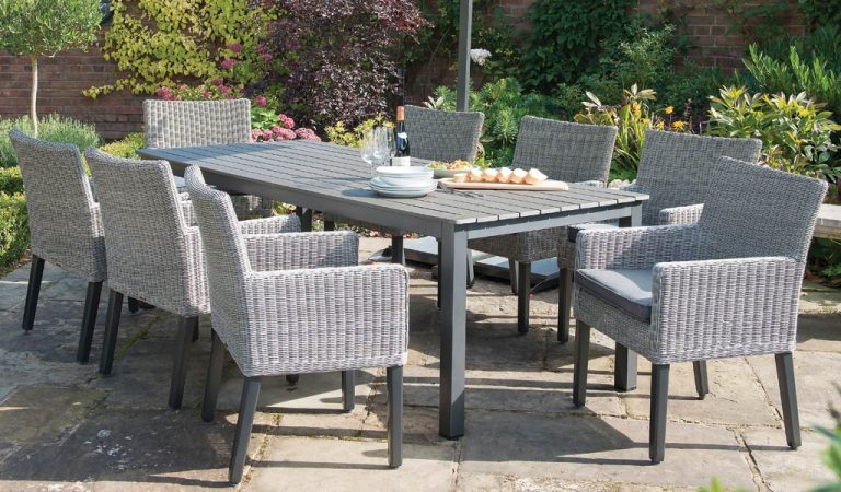 Bretagne 8 seater garden furniture set in white wash with poly wood slat top table