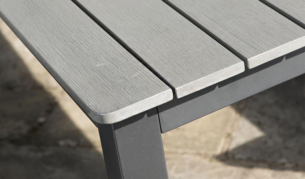 Detail of the Bretagne polywood table from KETTLER's Classic garden furniture range