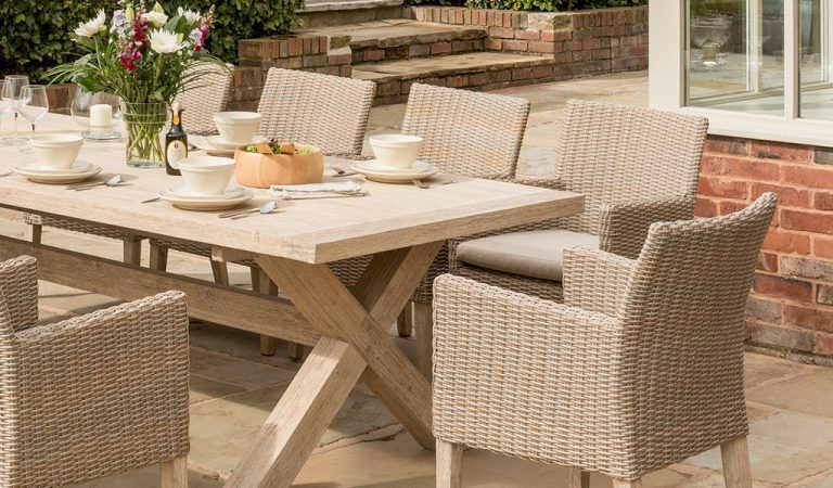 Detail of the Cora Armchair Dining Set from KETTLER's Elegance range in a garden