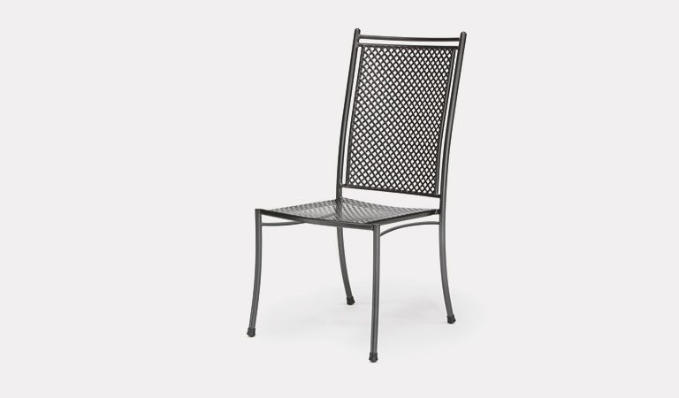The Cortona Side Chair from KETTLER's Mesh Garden furniture range on a grey background.