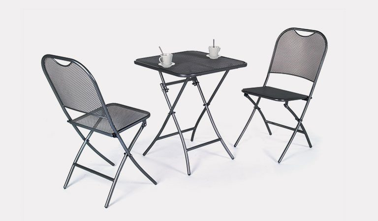 The Estrada Balcony Set from the KETTLER at Notcutts metal garden furniture range on a grey background.
