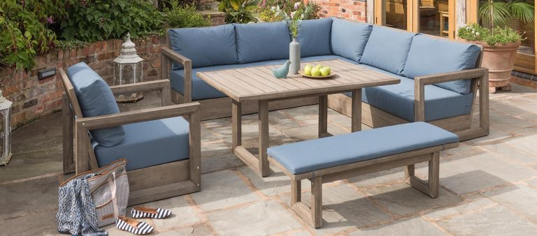Ezra-Corner-Set from KETTLER's Casual Dinng Garden Furniture range on a stoned patio