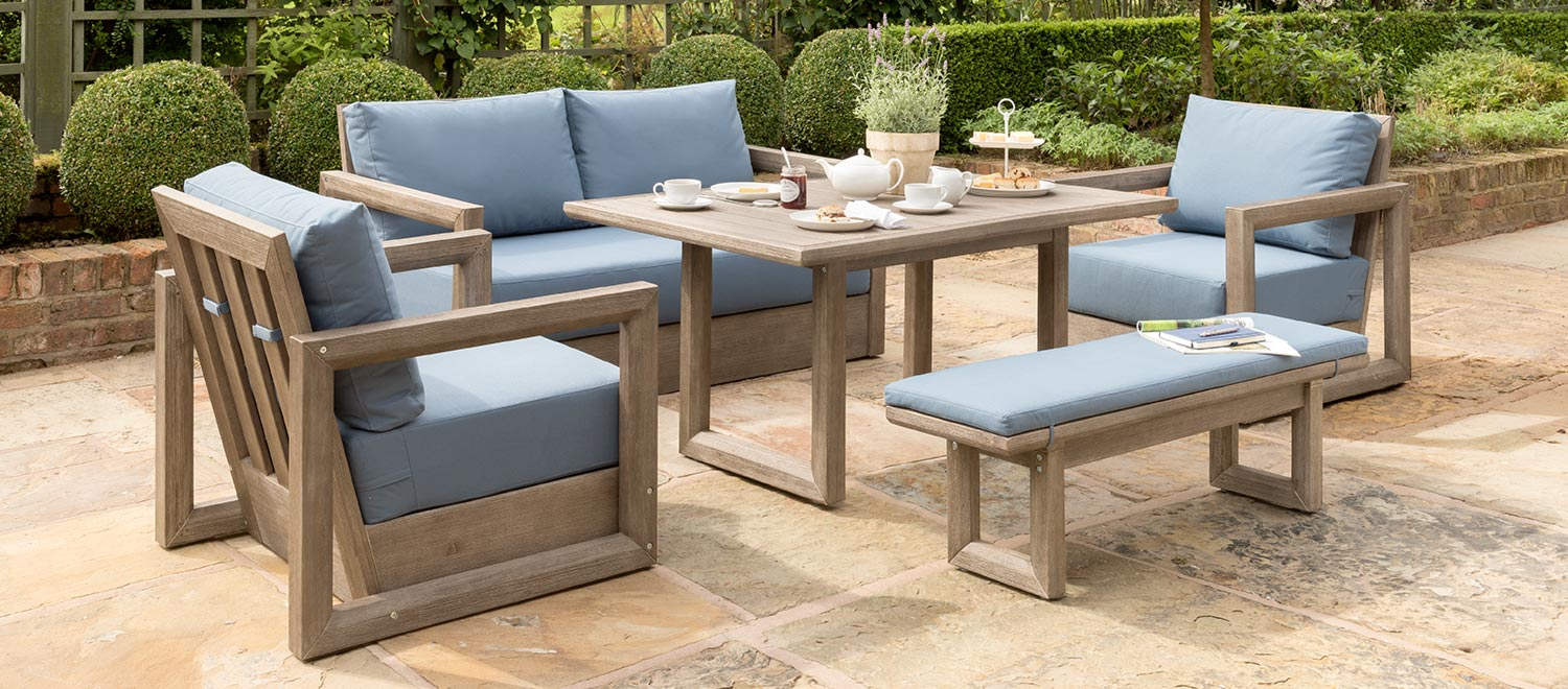 ezra sofa set from kettlers casual dinng garden furniture range on a stoned patio - Garden Furniture The Range