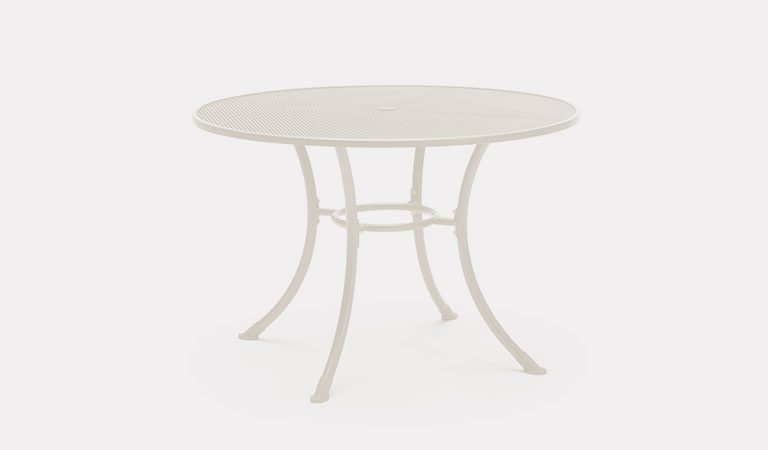 Henley 110cm Round Mesh Table in Mellow Mocha from the KETTLER at John Lewis metal garden furniture range on a grey background.