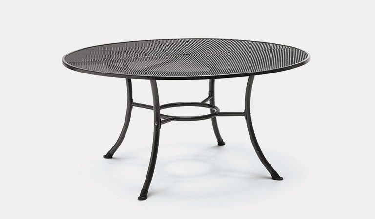 Henley 150cm Round Mesh Table in Iron Grey from the KETTLER at John Lewis metal garden furniture range on a grey background.
