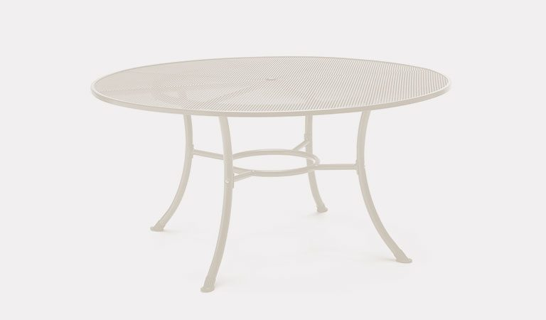 Henley 150cm Round Mesh Table in Mellow Mocha from the KETTLER at John Lewis metal garden furniture range on a grey background.