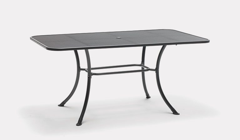 Henley 160x90cm Mesh Table in Iron Grey from the KETTLER at John Lewis metal garden furniture range on a grey background.