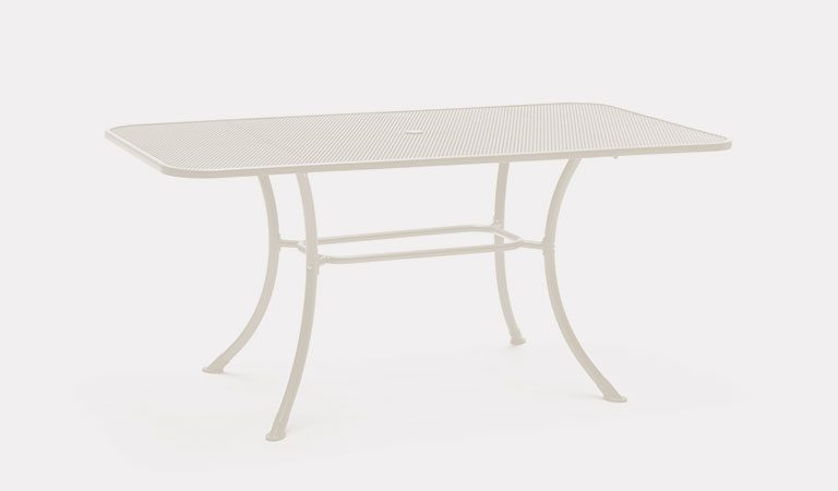 Henley 160x90cm Mesh Table in Mellow Mocha from the KETTLER at John Lewis metal garden furniture range on a grey background.