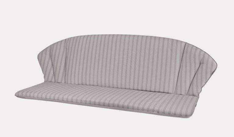 Henley 3 Seater Bench Cushion in French Grey on a grey background.