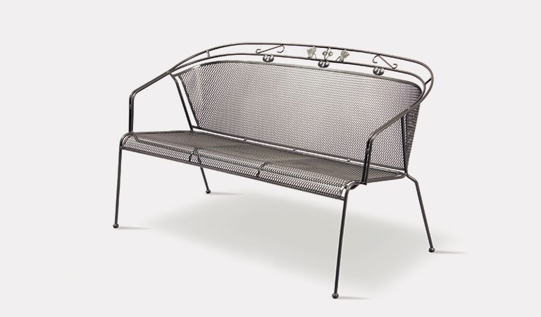 Henley 3 Seater Bench in Iron Grey from the KETTLER at John Lewis metal garden furniture range on a grey background.