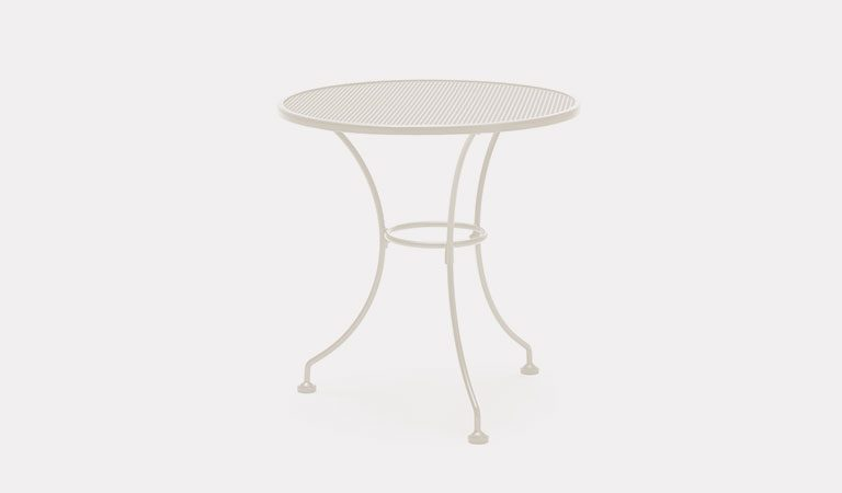 Henley 70cm Round Mesh Table in Mellow Mocha from the KETTLER at John Lewis metal garden furniture range on a grey background.
