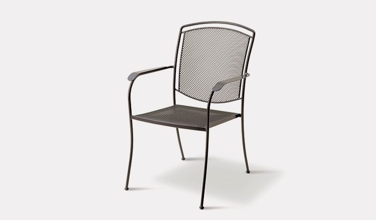 Henley Armchair in Iron Grey from the KETTLER at John Lewis metal garden furniture range on a grey background.