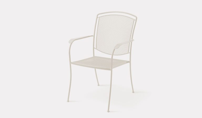 Henley Armchair in Mellow Mocha from the KETTLER at John Lewis metal garden furniture range on a grey background.