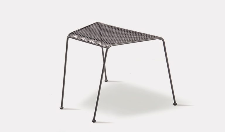 Henley Companion Table in Iron Grey from the KETTLER at John Lewis metal garden furniture range on a grey background.