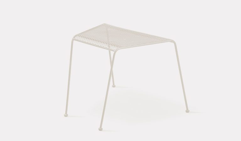 Henley Companion Table in Mellow Mocha from the KETTLER at John Lewis metal garden furniture range on a grey background.
