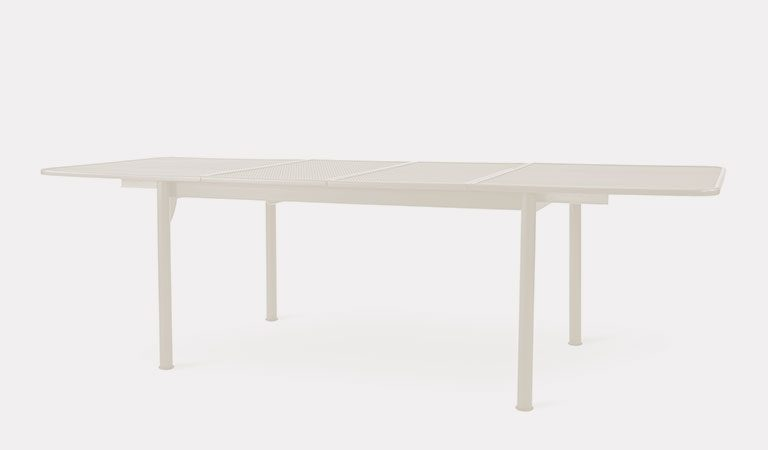 Henley Extending Table in Mellow Mocha from the KETTLER at John Lewis metal garden furniture range on a grey background.