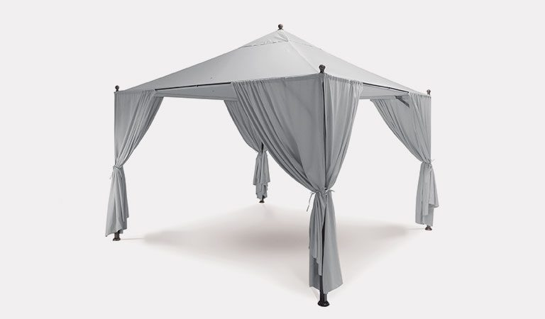 Henley 3x3m Gazebo in Iron Grey from the KETTLER at John Lewis metal garden furniture range on a grey background.