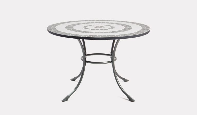 Henley 110cm Round Mosaic Table in Iron Grey from the KETTLER at John Lewis metal garden furniture range on a grey background.