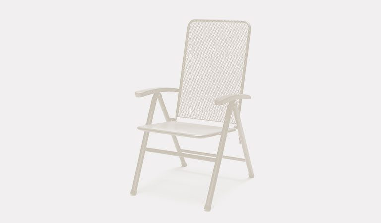 Henley Multi-Position Chair in Mellow Mocha from the KETTLER at John Lewis metal garden furniture range on a grey background.