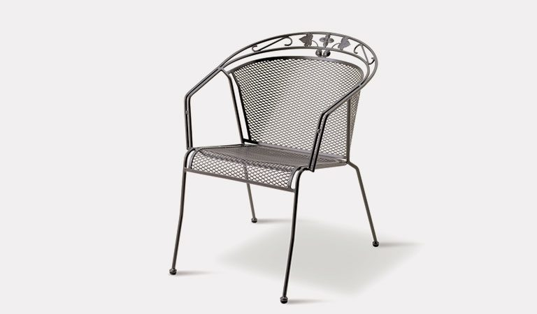 Henley Round Back Chair in Iron Grey from the KETTLER at John Lewis metal garden furniture range on a grey background.