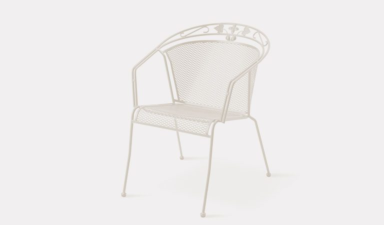 Henley Round Back Chair in Mellow Mocha from the KETTLER at John Lewis metal garden furniture range on a grey background.