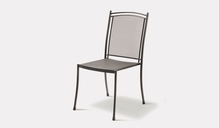 Henley Side Chair in Iron Grey from the KETTLER at John Lewis metal garden furniture range on a grey background.