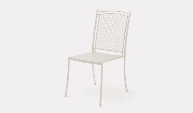 Henley Side Chair in Mellow Mocha from the KETTLER at John Lewis metal garden furniture range on a grey background.
