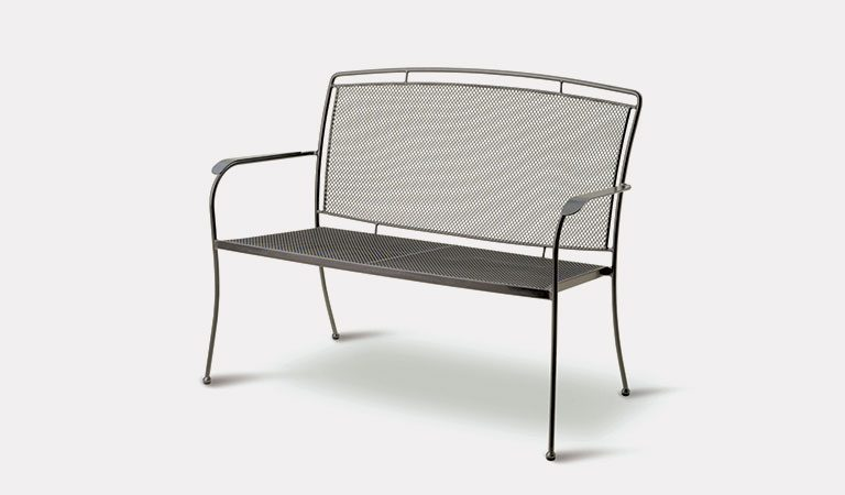 Henley Twinseat in Iron Grey from the KETTLER at John Lewis metal garden furniture range on a grey background.