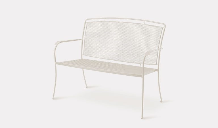 Henley Twinseat in Mellow Mocha from the KETTLER at John Lewis metal garden furniture range on a grey background.