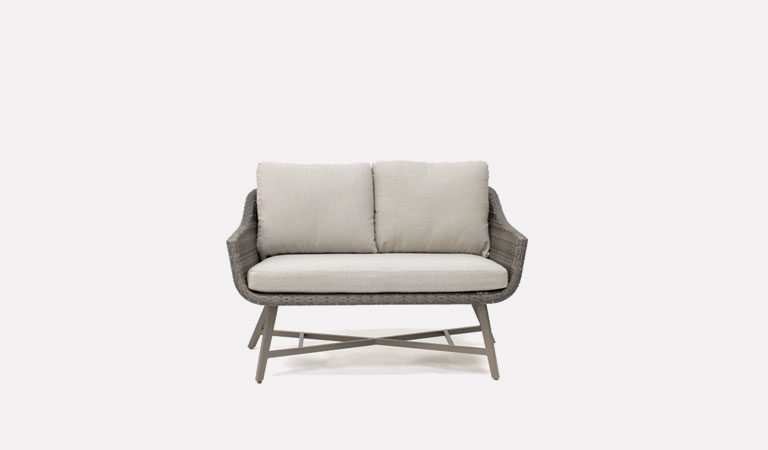 The LaMode 2 Seater Sofa from KETTLER's Elegance Garden furniture range on a grey background.
