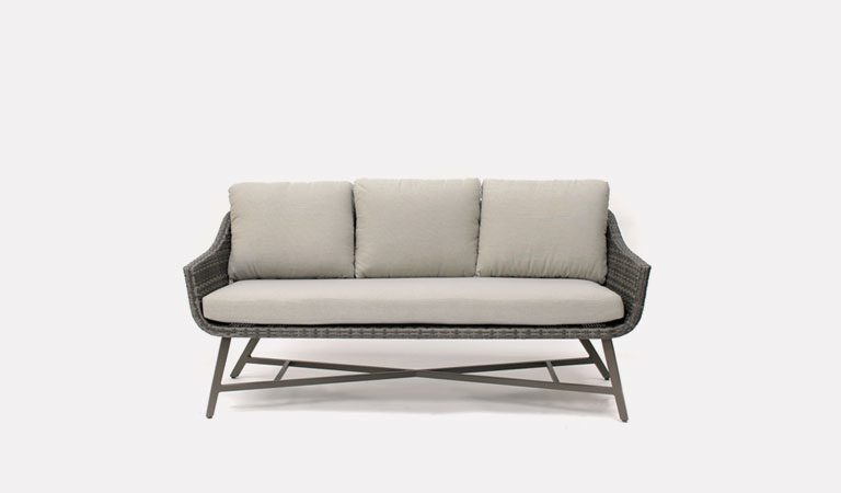 The LaMode 3 Seater Sofa from KETTLER's Elegance Garden furniture range on a grey background.