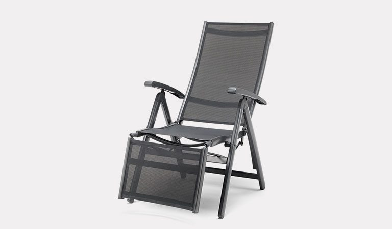 The Liveda Relaxer Chair from the KETTLER at Notcutts metal garden furniture range on a grey background.