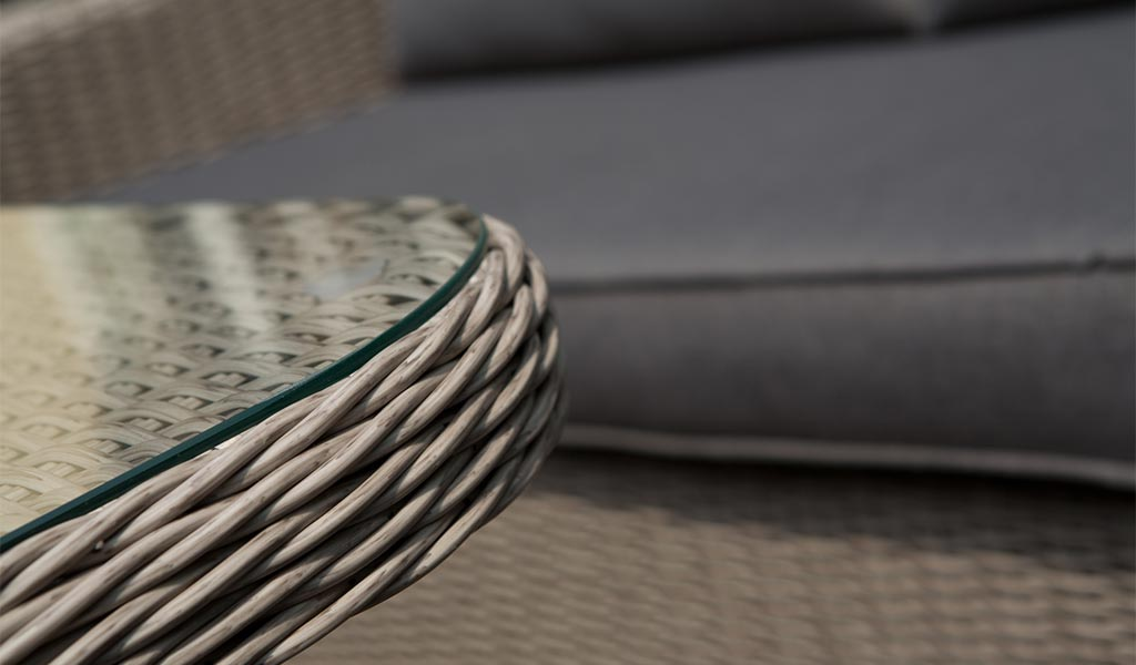 Detail of the Madrid Corner Set in rattan from KETTLER's Casual Dining range.