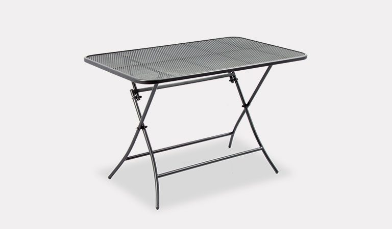The 110 x 70cm Mesh Folding Table from the KETTLER at Notcutts metal garden furniture range on a grey background.