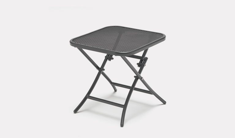 The 45 x 45cm Mesh Folding Table/Footstool from the KETTLER at Notcutts metal garden furniture range on a grey background.