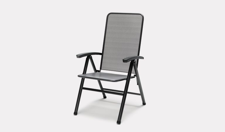 The Novero Multi-Position Recliner from KETTLER's Mesh Garden furniture range on a grey background.