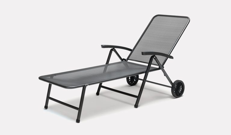 The Novero Sunlounger from KETTLER's Mesh Garden furniture range on a grey background.