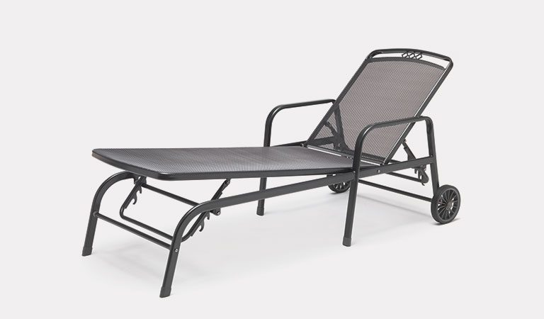 The Palencia Lounger from the KETTLER at Notcutts metal garden furniture range on a grey background.