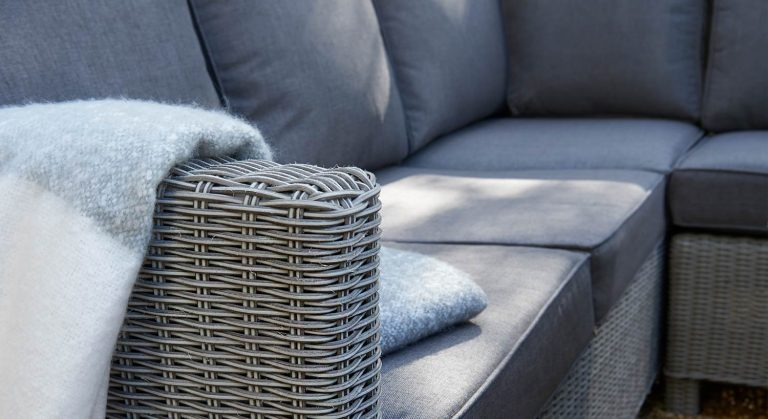 Detail of the palma Corner Set in White Wash from Kettlers Casual Dining garden furniture range.
