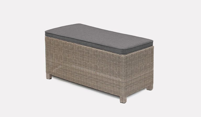Palma bench in rattan with taupe cushion