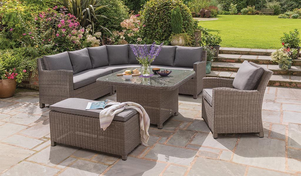 Kettler Palma Grand garden furniture set in rattan on patio
