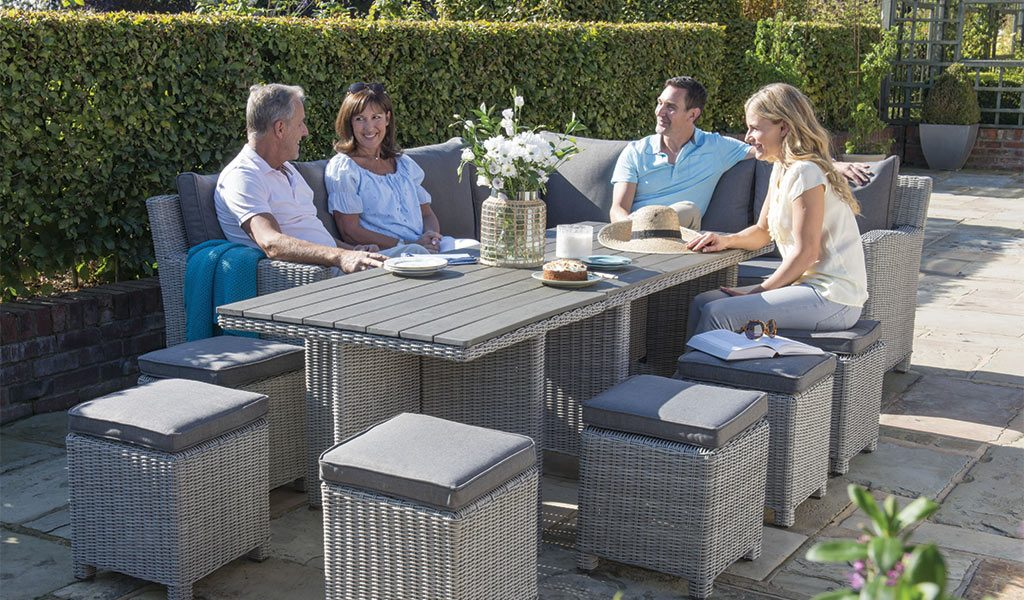 Palma Mini Set with extending Palma Cube Set in white wash from KETTLER's Casual Dining garden furniture range.