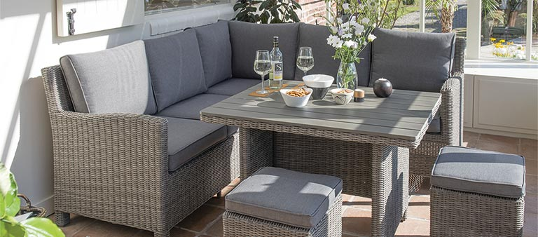 Palma Mini Set in rattan from KETTLER's Casual Dining range in a conservatory