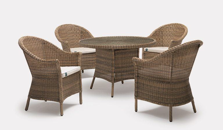 RHS Harlow Carr 4 Seater Dining Set, from the RHS by KETTLER Garden furniture range, on a grey background.