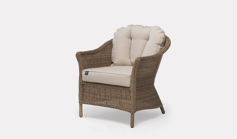 RHS Harlow Carr Armchair with cushions from the RHS by KETTLER garden furniture range on a grey background.